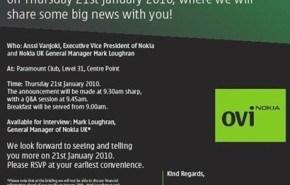Nokia se prepara para el evento de prensa Ovi a disputarse mañana (21 de enero) en Londres