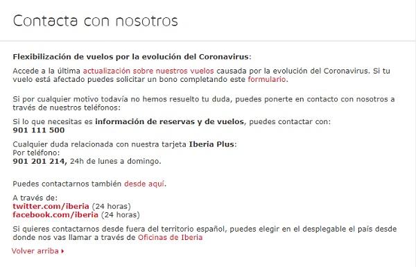 Teléfonos web Iberia