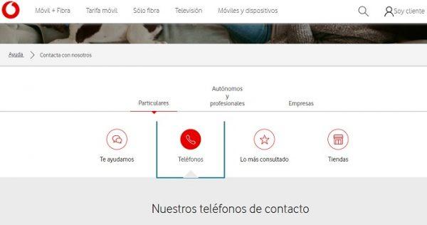 Botón Teléfono Vodafone