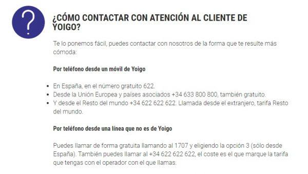 Contacto Yoigo