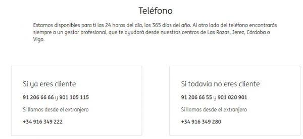 Teléfonos web ING