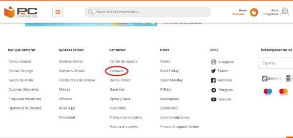Contacto web PcComponentes