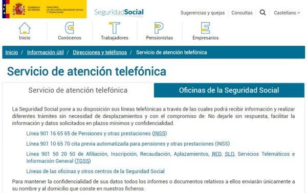 Servicio d eatención telefonica de la Seguridad Social